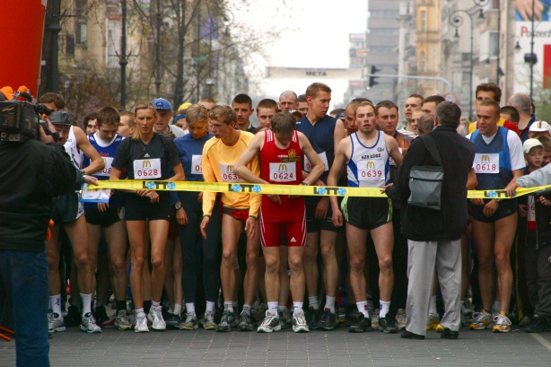 At the starting line of a marathon